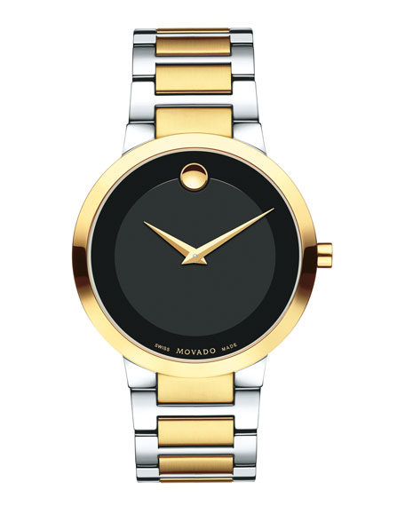 39.2mm Modern Classic Watch, Silver/Yellow Gold