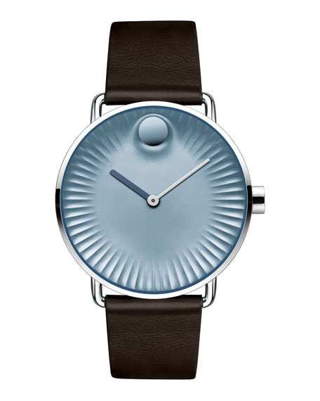 Movado 40mm Edge Watch with Leather Strap, Brown/Blue