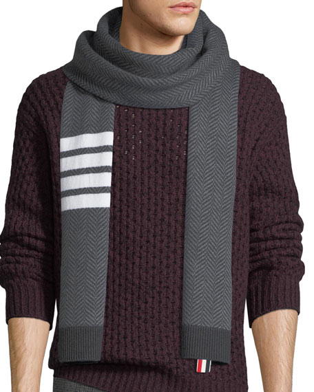 Four-Stripe Herringbone Wool Scarf