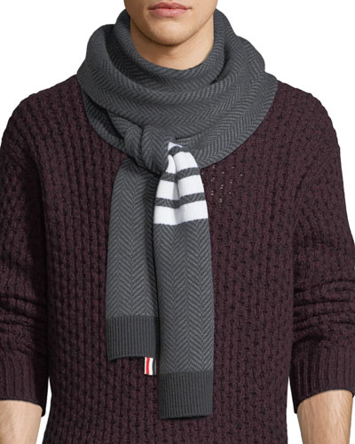 Four-Stripe Herringbone Wool Scarf