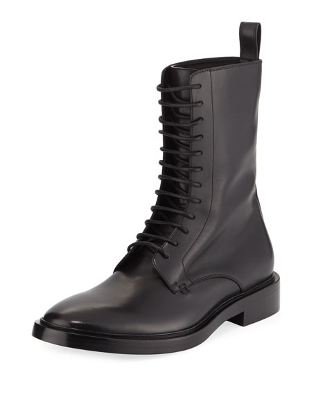 Lace Up Leather Combat Boot by Balenciaga