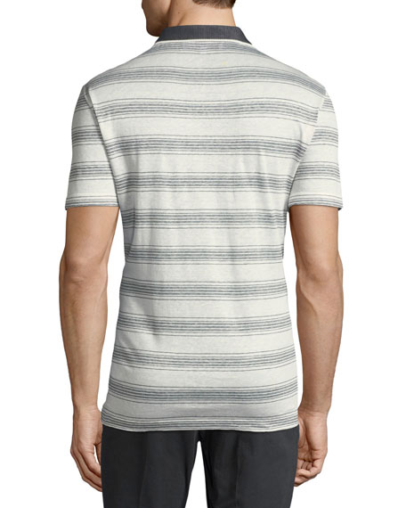 Men's Linen-Cotton Blend Nautical Striped Polo Shirt with Gancini