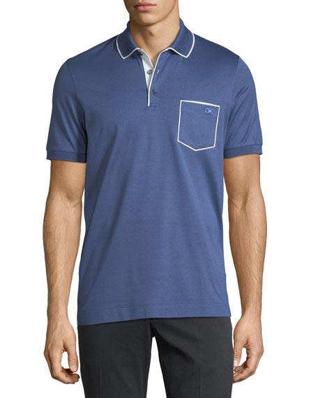 Men's Cotton-Pique Contrast Piped Polo Shirt
