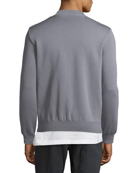 Men's Suede-Front Wool Zip-Front Sweater