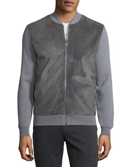 Suede-Front Wool Zip-Front Sweater