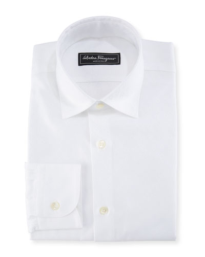 Cotton Gancini-Jacquard Sport Shirt