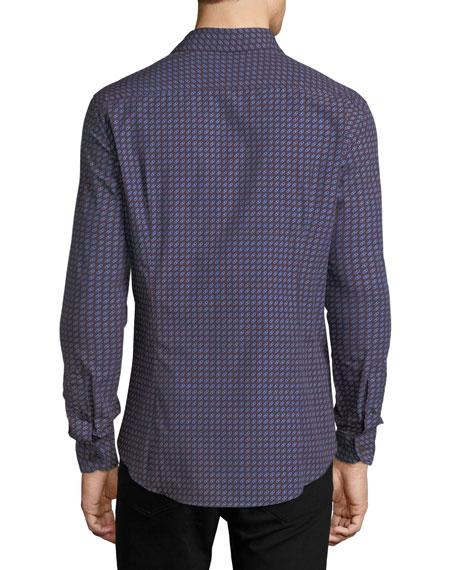 Gancini-Print Cotton Sport Shirt, Blue/Red