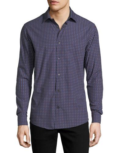 Men's Gancini-Print Cotton Sport Shirt, Blue/Red