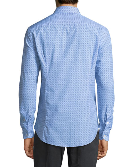 Gancini-Print Cotton Sport Shirt, Blue