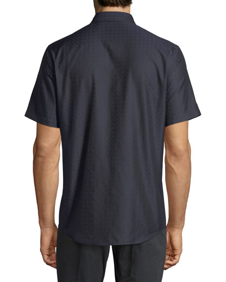 Gancini-Jacquard Short-Sleeve Sport Shirt, Navy