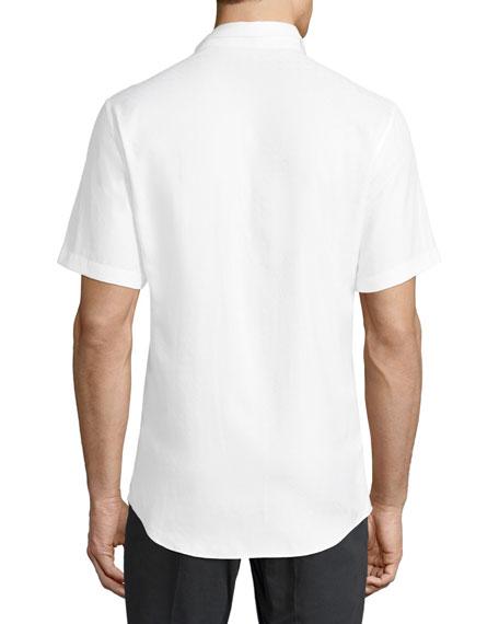 Gancini-Jacquard Short-Sleeve Sport Shirt, White