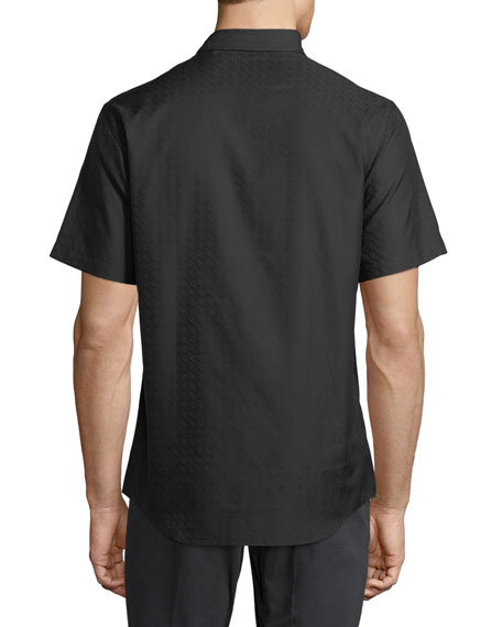 Gancini-Jacquard Short-Sleeve Sport Shirt, Black