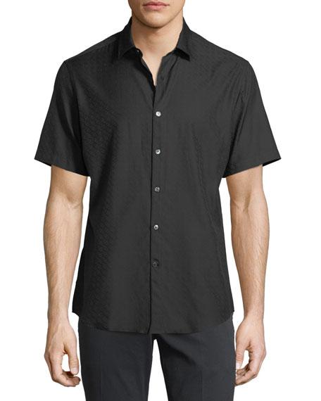 Men's Gancini-Jacquard Short-Sleeve Sport Shirt, Black