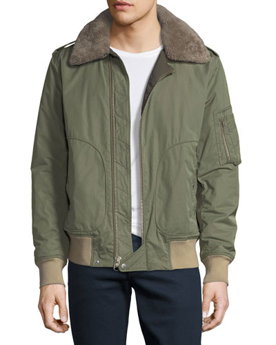 Flight Jacket with Shearling Collar