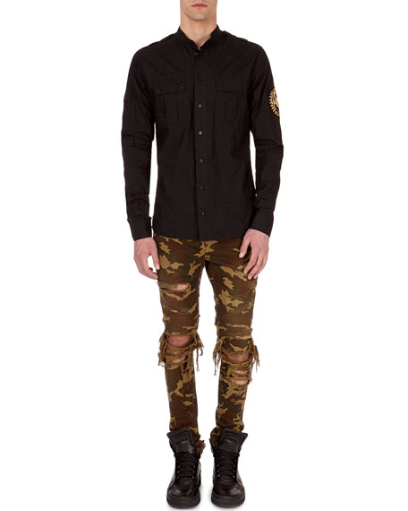 Balmain Embroidered Cotton Cargo Shirt
