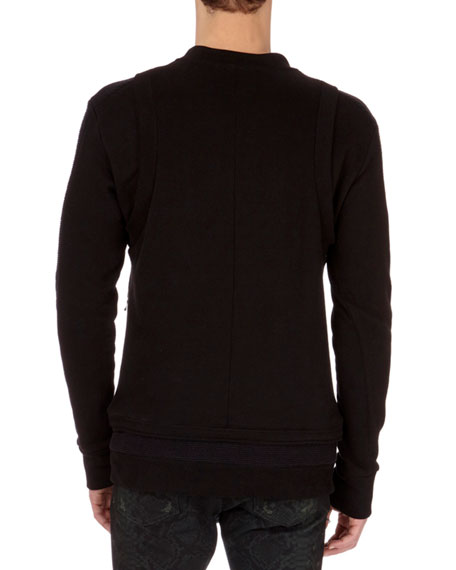 Seamed Zipper Crewneck Sweatshirt