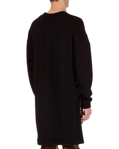 Oversized Wool Sweatshirt with Extended Hem