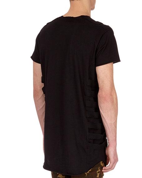 Long Cotton T-Shirt with Bondage Straps