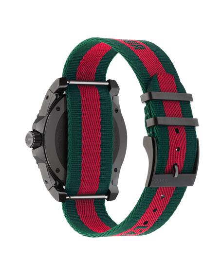 45mm Gucci Dive Bee Watch w/ Nylon Web Strap