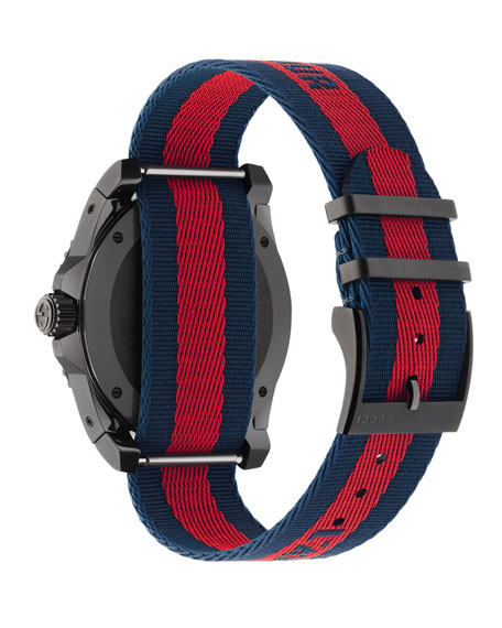 45mm Gucci Dive Tiger Watch w/ Nylon Web Strap