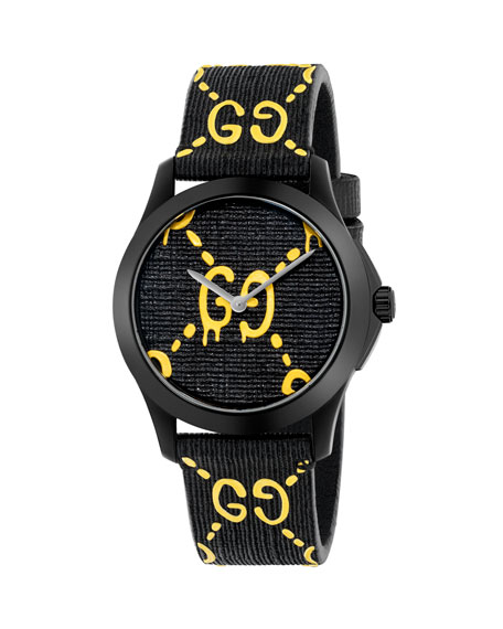 38Mm G-Timeless Watch With Rubber Strap, Black/Yellow