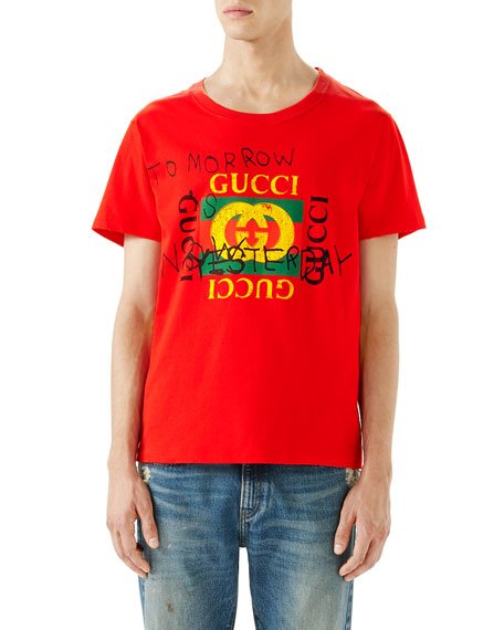 cdc16bec Gucci Short-Sleeve Loved T-Shirt, Red