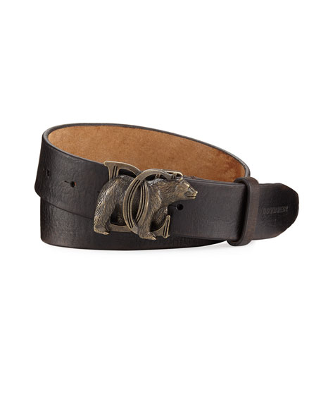 Dsquared2 Bear-Buckle Leather Belt, Brown
