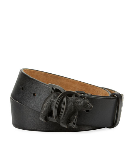 Bear-Buckle Leather Belt, Black