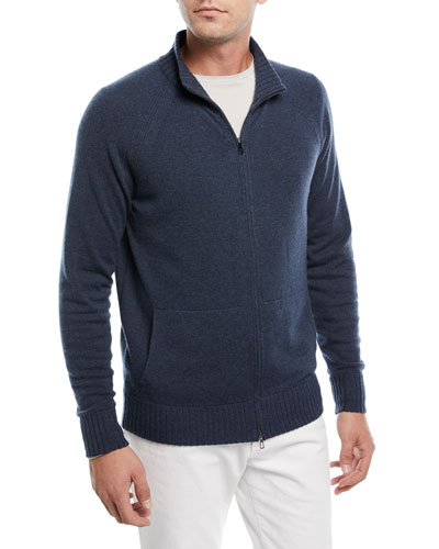 Cashmere Zip-Front Sweater