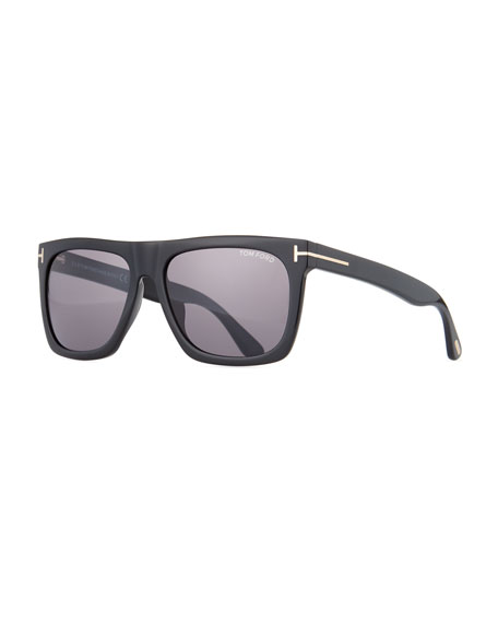 Morgan Thick Square Acetate Sunglasses, Black/Smoke
