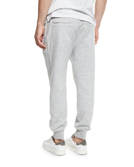 Cashmere-Blend Banded Jogger Pants, Light Gray