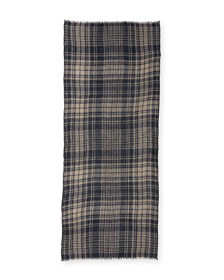 Cashmere-Blend Check Scarf