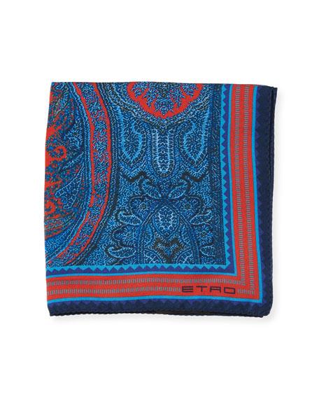 Etro Framed Paisley Silk Pocket Square