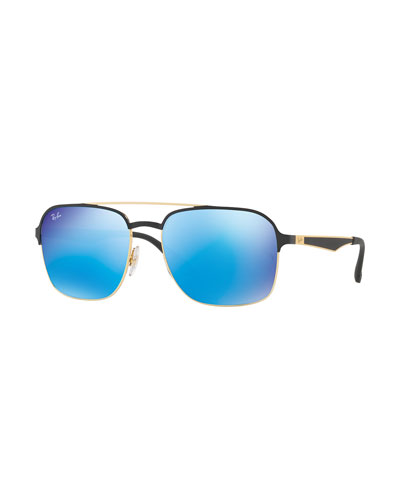 Metal Navigator Sunglasses, Black/Blue Mirror