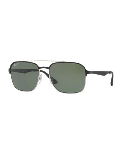 Metal Navigator Sunglasses, Black