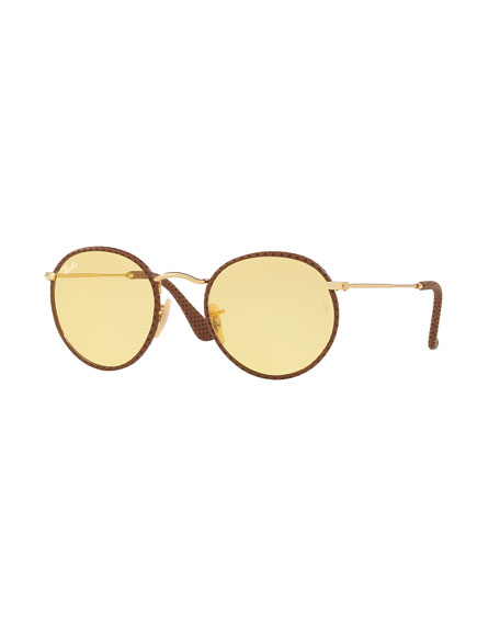 Round Craft Leather Sunglasses with Ambermatic Lenses