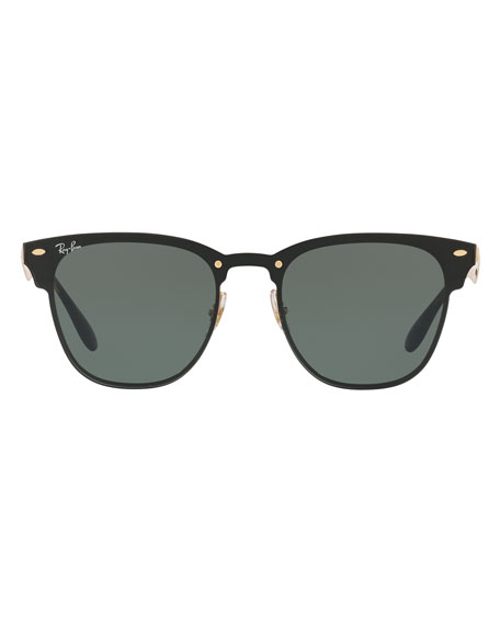 Blaze Clubmaster Lens-Over-Frame Sunglasses, Black/Gold