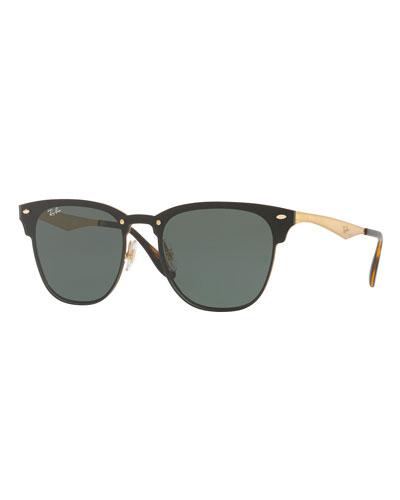 Blaze Clubmaster Lens-Over-Frame Sunglasses, Black/Gold