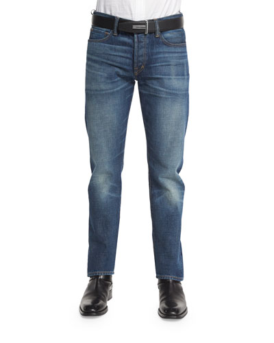 Straight-Fit High-Low Selvedge Denim Jeans, Indigo
