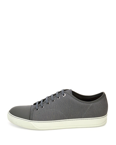 Men's Textured Leather Low-Top Sneakers