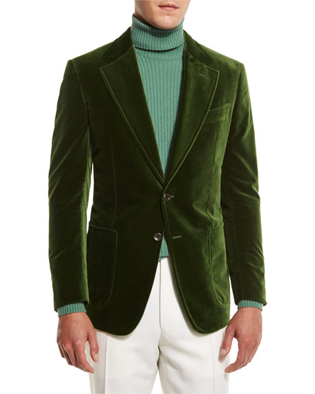 Shelton Base Velvet Sport Jacket, Grass Green