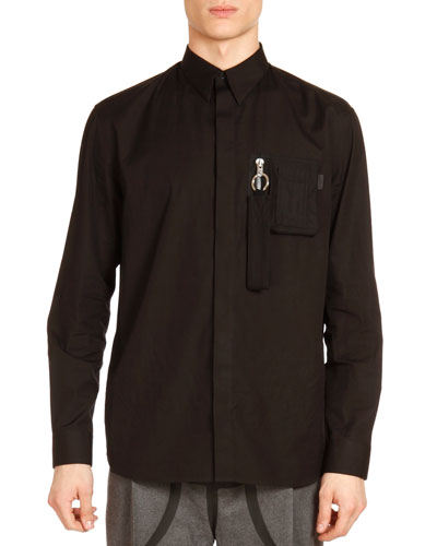 Zip-Pocket Long-Sleeve Shirt, Black