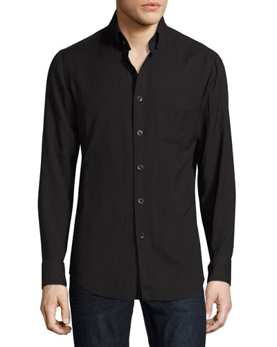 Cotton-Cashmere Washed Twill Shirt, Navy