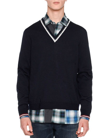 Open-Stitch Striped V-Neck Sweater