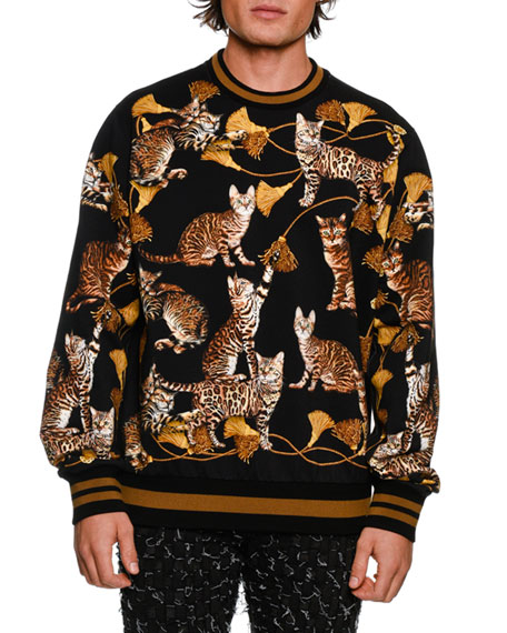 Kitten-Print Cotton Sweatshirt