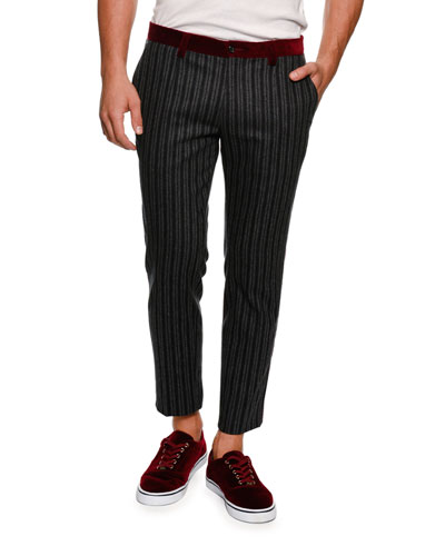 Velvet-Trim Striped Pants