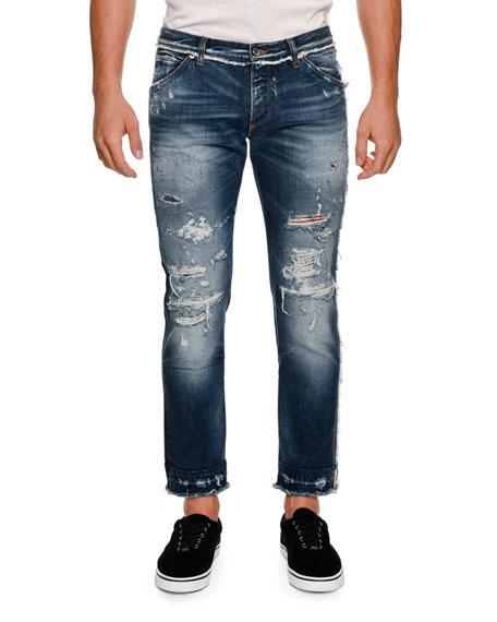 Paneled Distressed Straight-Leg Jeans