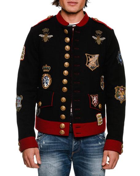 DOLCE & GABBANA Military Crest Short Jacket, Black