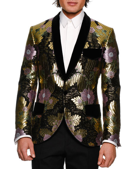 Metallic Floral Brocade Dinner Jacket