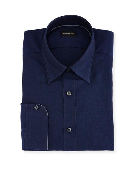 Woven Mesh Dress Shirt, Navy